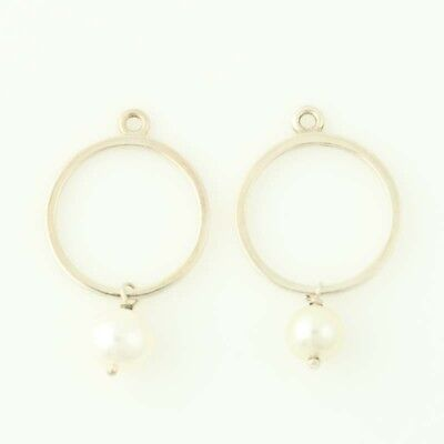 New Authentic Pandora Earrings Charms Moon Drops 290613P Pearls Sterling Silver • 56.55£