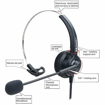 3.5mm Wired Headset Computer Headphones Noise Cancelling MIC For PC Laptop Phone • 12.32£