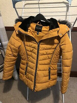New Look Mustard Quilted Puffer Coat With Faux Fur Hood, Size 10 • 4.99£