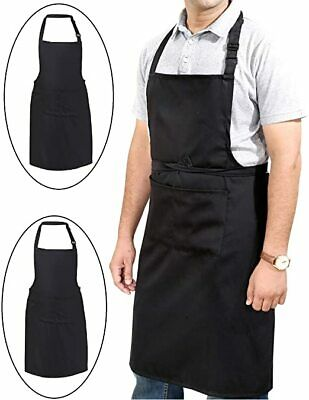 £3.29 • Buy Black Apron Cooking BBQ Craft Baking Chefs Polyester Catering Butcher Kitchen UK