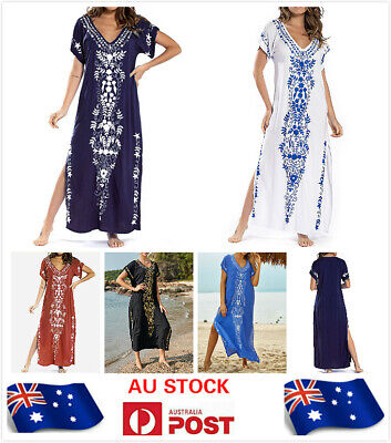 AU24.99 • Buy AU SELLER Embroidery Cotton Oversized Kaftan Kimono Beach Dress Cover UP Dr203