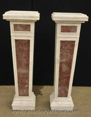 Pair Empire Marble Pedestal Table Column Stands            • 1,800£