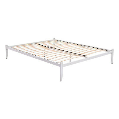 Modern Low Platform Style White Metal Bed Frame Loft Bed 4ft6 Double 5ft King • 77.99£