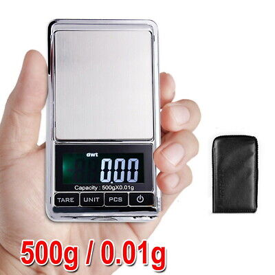 500g 0.01 Digital Pocket Scales Jewellery Precision Electronic Weight Lab Pouch • 5.99£