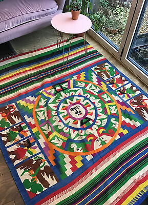 Original XL Vintage 1960s Psychedelic Mexican Tapestry Cotton Wool Woven Rug • 225£