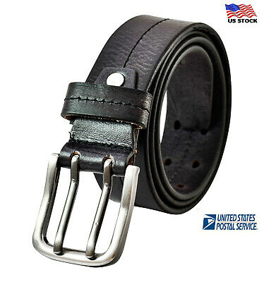 $24.95 • Buy 100% Genuine Mens Casual Stitched Leather Double Prong Belt Jean Golf Heavy Duty
