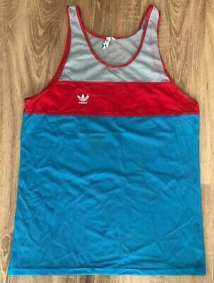 Adidas West Germany Vintage Track Field Running Vest Sleeveless T Shirt Size L • 43.41£