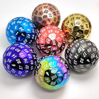 AU38.01 • Buy 1Pcs D100 Dice Stylish Metal Polyhedral Dice 100 Sides Role Playing Toy Dice