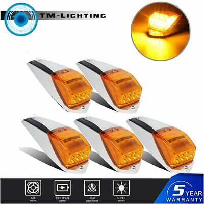 $ CDN68.06 • Buy For Peterbilt Kenworth Freightliner Amber Chrome LED Cab Marker Lights 5 Pcs