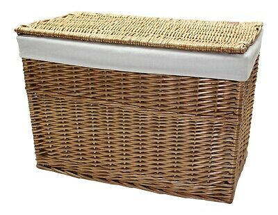 Natural Willow Wicker Trunk Chest Storage Basket Bedroom Bathroom Lining Lid  • 69.95£