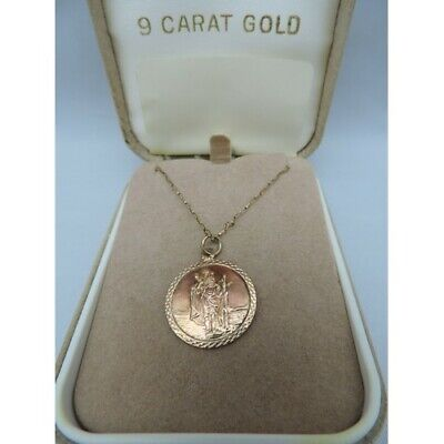 9ct Gold St Christopher On 54cm Trace Chain Total Weight 2.6gm STEPHEN   P631220 • 120£