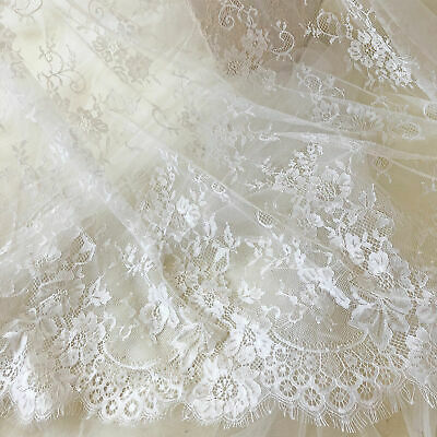 £25.99 • Buy 3 Meters Chantilly Lace Fabric Floral Eyelash Lace Tulle For Evening Ballgown