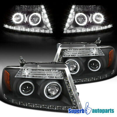 $137.98 • Buy For 2004-2008 Ford F150 Lincoln Mark LT R8 Style LED Dual Halo Headlights Black