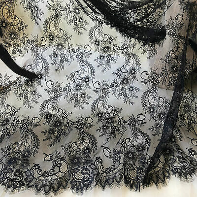 £19.99 • Buy 3 Meters Chantilly Flower Lace Fabric French Eyelash Lace Tulle For Costumes