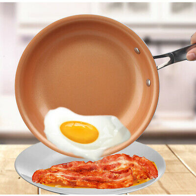 $29.99 • Buy 10In Non-Stick Skillet Copper Frying Pan With Ceramic Coating Induction Saucepan