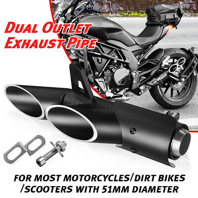 $39.89 • Buy 38-51mm Motorcycle Dual Outlet Exhaust Muffler Tail Tube Pipe For Yamaha R6 YZF