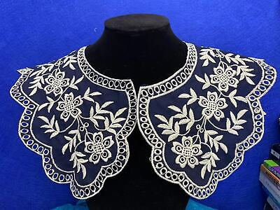 Large Style Lace Collar Sewn On Dressmaking, Polyester Cotton. Navy Blue L5 • 4.99£