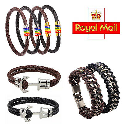 £4.49 • Buy Unisex Leather Braided Wristband Bracelet Stainless Steel Clasp 6mm/8mm