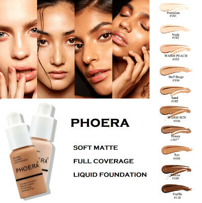 PHOERA Foundation Concealer Full Coverage Makeup Matte Brighten Long Lasting UK • 4.89£