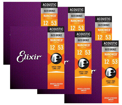 $ CDN102.06 • Buy Elixir Strings Nanoweb 80/20 Acoustic Guitar Strings - .012-.053 Light 6 Pack