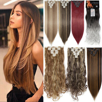 £13 • Buy 100% Real Natural Clip In Hair Extensions Full Head 8 Piece Set Long As Human UK
