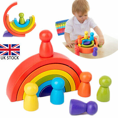Wooden Rainbow Building Stacking Blocks Baby Toddler Educational Montessori Toy • 8.36£