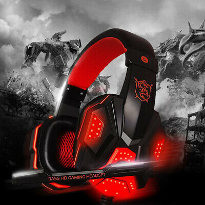 AU28.99 • Buy Gaming Headset W/ Mic Red Wired Headphones LED 3.5mm Stereo For PC Xbox One/PS4