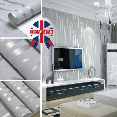 3D Damask Sliver Wave Wallpaper Roll Home Decor Silver Grey Wall Paper Rolls • 6.99£