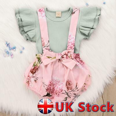 UK Newborn Baby Girl Clothes Cotton Ruffle Romper Bow Floral Playsuit Outfit Set • 7.21£