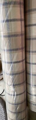 John Lewis Soft Furnishing Fabric Harrow Navy Taupe Check Cotton By The Metre • 6£