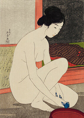 Vintage Japanese Wall Art Modest Nude Woman Washing Oriental Poster Print • 9.99£