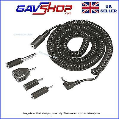 £5.25 • Buy 3.5mm Plug To Socket Coiled Extension Lead Inc 2.5mm & 6.35mm 1/4  Jack Adaptors