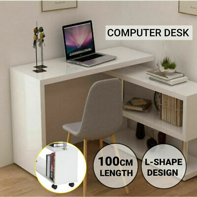 AU98.98 • Buy Office Computer Desk Corner L Shape Study Table Workstation Storage Shelves