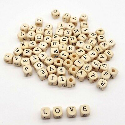£2.99 • Buy Beads Wooden 100Pcs 10 Mm DIY Alphabet Letter Number Jewelry Making Gift Craft