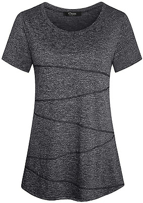 IClosam Women's Short Sleeve Yoga Tops Flowy Fitness Workout T Shirt Dark Gray • 17.48£