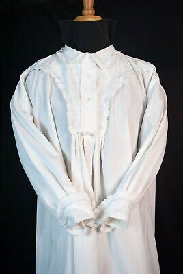 Antique Victorian White Cotton Nightgown, Embroidered Night Shirt Long Sleeves • 102.91£