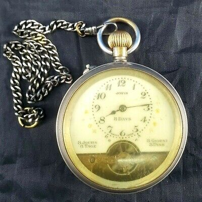 AU594.46 • Buy Antique Pocket Watch Jovis 8 Day Nickel Silver Plated Open Face Brass Case