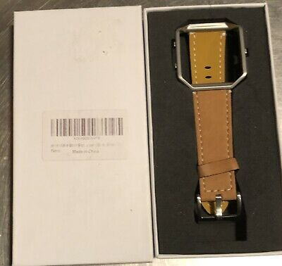 $ CDN16.23 • Buy Fitbit Blaze Accessory Replacement Leather Wrist Band & Frame Tan/Brown Unused!