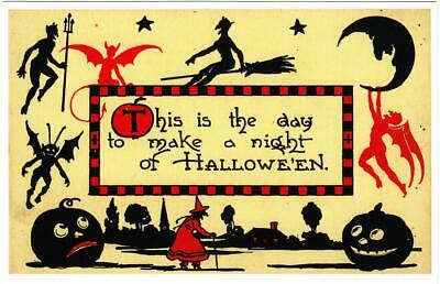 $ CDN2.45 • Buy Halloween Repro Postcard #25 Red And Black Devils Witch And Jack-o-Lanterns