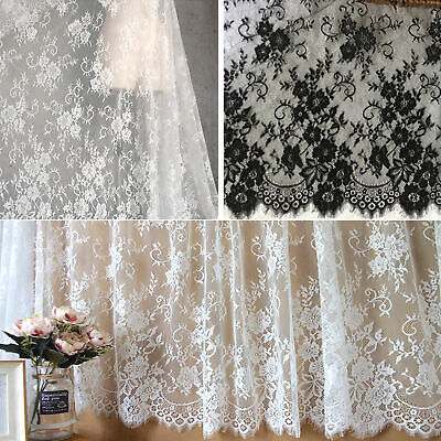 £19.99 • Buy Soft Eyelash Lace Tulle By The Yard Chantilly Floral Lace Fabric For Decoration