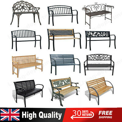Garden Metal Wood Bench Outdoor Seating Cast Iron Chair Patio Seat Furniture New • 152.99£
