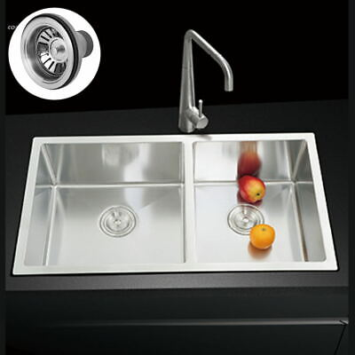 Stainless Steel Double Bowl Reversible Kitchen Sink Inset Washbasin With Drainer • 143.20£