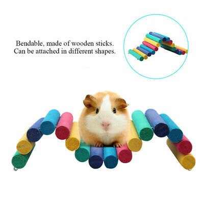 Colorful Wooden Bridge Pet Hamster Guinea Pig Rat Ladder House Playing Toy • 6.99£
