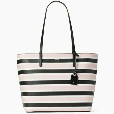 $ CDN152.23 • Buy Kate Spade Janie Smooth Striped Leather Large Tote WKR00232 NWT $329 Retail FS