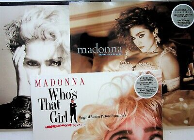 MADONNA- 3 CRYSTAL CLEAR VINYL LP NEW ALBUMS Debut/Like A Virgin/Whos That Girl • 39.99£
