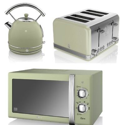 Swan Kitchen Retro GREEN Manual 20L Microwave,1.8L Dome Kettle & 4 Slice Toaster • 184.99£