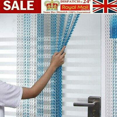 214x90CM Aluminum Door Curtain Metal Chain Fly Insect Blinds Screen Pest Control • 29.98£