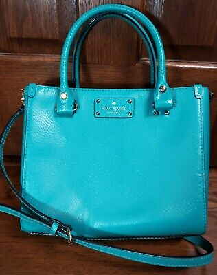 $ CDN76.55 • Buy Kate Spade Teal Crossbody Leather Purse Double Handle/Shoulder Strap EUC!