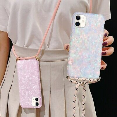 Marble Case For IPhone 11 Pro XR 8 Neck Lanyard Strap Silicone Shockproof Cover • 5.29£
