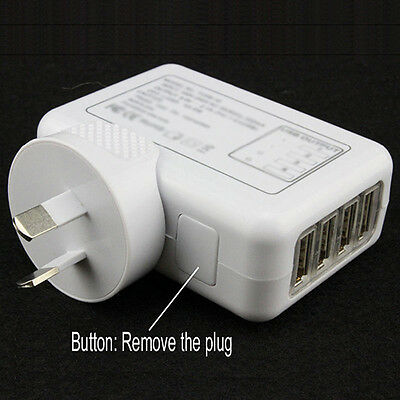 AU12.47 • Buy KQ_ IC- 2.1A 4 USB Port Travel Home Wall Charger AC Adapter AU Plug For IPhone S